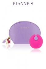 Stimulateur Moon Vibe - Un luxueux mini vibro pour le clitoris et sa sa pochette de rangement type trousse à maquillage.