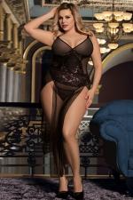 Nuisette longue noire transparente grande taille - Transformez vous en femme fatale avec cette nuisette longue hyper sexy de la marque Paris Hollywood. Modèle grande taille.